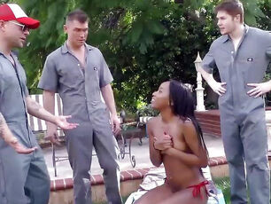 Teen interracial gangbang